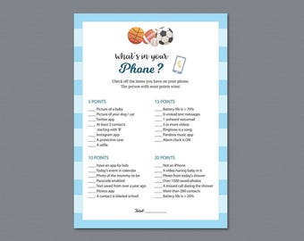 What's In Your Phone Game Printable, Baby Shower Games, What's on Your Phone, Football Sports Theme, Soccer Cell Phone Game Download, B011
