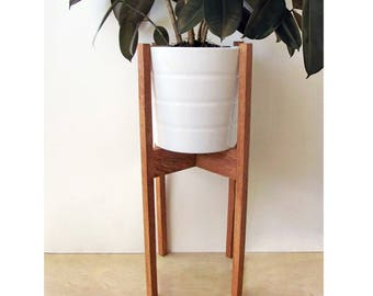 Large Mid Century Modern Plant Stand, Square Legs, Oak Wood