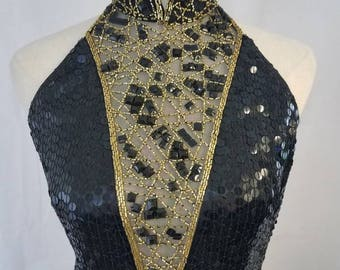 Gorgeous Black and Gold with Sheer Neckline Sequin Gown