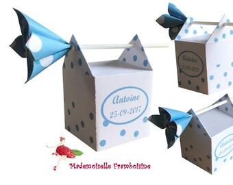 Box dragees, peas with flower kusudama, personalized, christening, wedding, birthday, communion