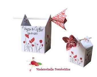 Box dragees, poppy flower kusudama, personalized, christening, wedding, birthday, communion