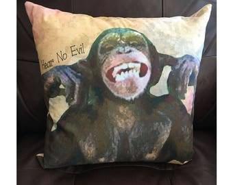 Hear No Evil Monkey Pillow