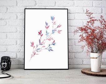 Printable art, Watercolor Painting ,Floral Art, Botanical Print, Leaves Watercolor, Fine Art, Digital print, Living art, Nursery Art, Cute