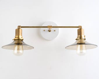 Modern Vanity Light -  Bathroom Lighting - Wall Fixture - Smoked Glass - Bathroom Fixtures - Mirror Lamp