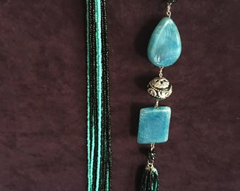 Turquoise and black statement necklace