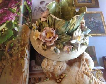 CANDELIERA BASSAANO ANTIC italiano . Floreali. Vintage. Shabby Chic