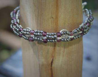 Gray and Purple Beaded Bangle