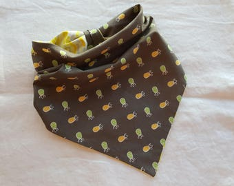 Traditional Tie End Dog Bandana - Reversible Grey with Green and Yellow Pineapples/White, Yellow and Gray Strips