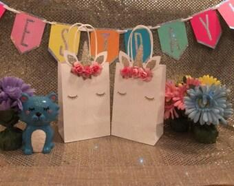 Unicorn favor bags , unicorn party bags , loot bag , goody bag, unicorn party theme, unicorn 1st birthday, unicorn decorations, party bag
