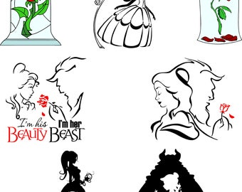 Beauty and the Beast.Svg,eps,dxf,pdf,png.