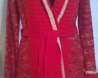 Long vest in Heather red wool and acrylic
