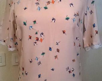 Pink printed cotton short sleeve dress