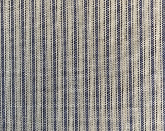 Blue and tan Striped cotton per yard