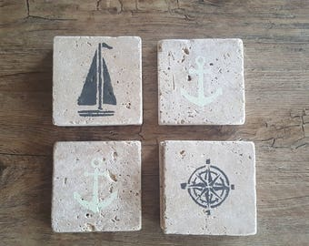 Natural Stone Coasters- Coastal Set of 4