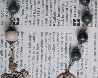 "ON SALE****Green jasper pocket ""tenner"" rosary with St. Patrick medal"