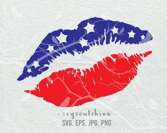 Lips American Flag SVG File Silhouette Cut File Cricut Clipart Print Vinyl transfer shirt design Download Fourth Of July Patriotic America
