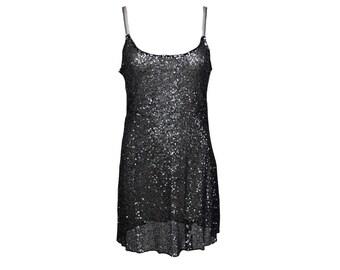 Vintage 90s Slip Dress // Silver // Sequins // Glitter // S/M