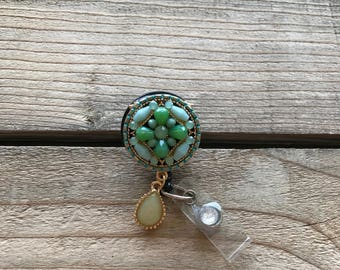 Lovely Turquoise and Green Rhinestone Badge Reel