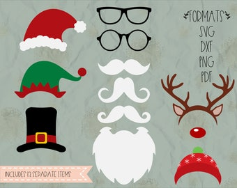 Christmas props photo booth, Santa, elf, Rudolph, beard, SVG, PNG, DXF for cricut, silhouette studio, cut file, vinyl decal, t shirt design