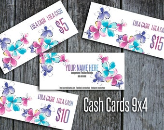 LLR Cash Cards, Free Fast Personalization, LulaCash Money, LuLa Bucks, Home Office Approved, Colors & Fonts, Flowers