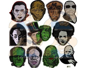 Universal Monsters Horror Movies Embroidered Patches Count Dracula Bride Frankenstein The Mummy Orlok Wolfman Phantom Dr Jekyll Nosferatu