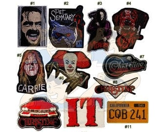 Stephen King Horror Movies Embroidered Patches Novel IT Clown Christine Car Licence Plate The Shinning Pet Sematary Cujo Carrie Misery Logo