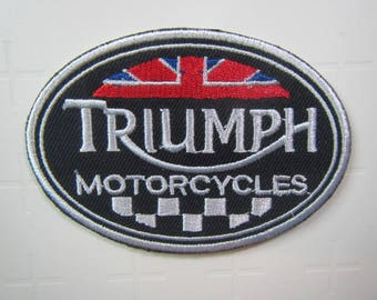 Triumph Motorcycles  – Union Jack – Checker Flag –Motorsport -  Iron on patch.