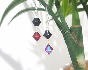 Black and red crystal Sterling silver drop earrings