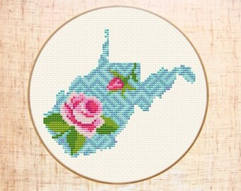 West Virginia cross stitch pattern Floral cross stitch Modern map cross stitch Flower State cross stitch Silhouette USA Instant download PDF