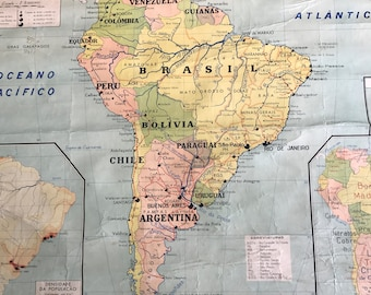 Vintage map and wall hanging of South America