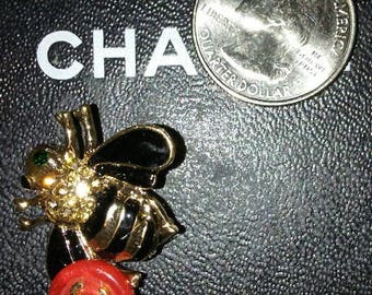 Chanel gold tone black and red bumble bee brooch, pin