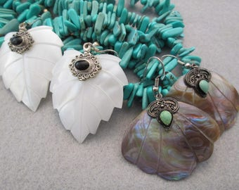 Beautiful Genuine SHELL Earrings with Turquoise or Black Jet accent> Hypo Allergenic wires> New old stock, never worn>> So Pretty