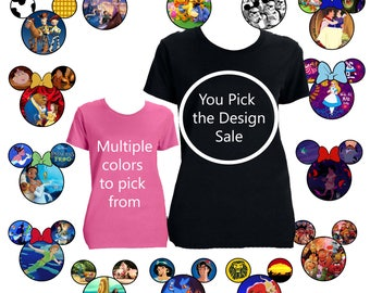 SALE, Women's Shirt, Disney, Mickey Ears, You pick the design,Black, Blue, White, Jade, Aladdin, Brave, Cars, Monster's Inc, Disney Caslte