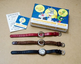 Rare Vintage Fossil Looney Tunes Sylvester & Tweety Bird Interchangeable Watch