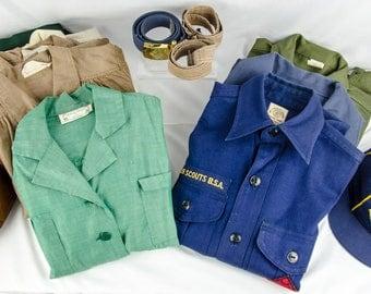 Large Vintage Boy Scouts BSA Uniform Lot & Large Vintage Girl Scout Uniform Lot