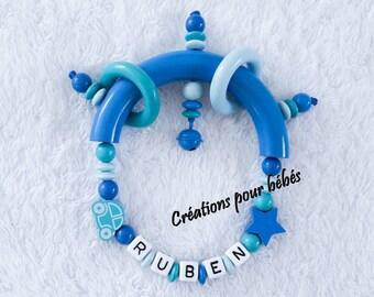 "Rattle custom beads wooden boy ""Car"""