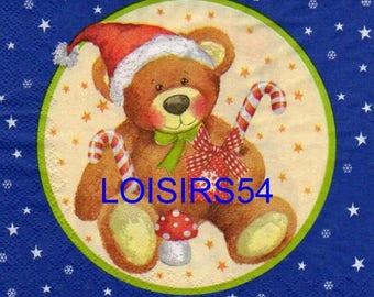Teddy bear Christmas 33 cm x 33 cm paper towel