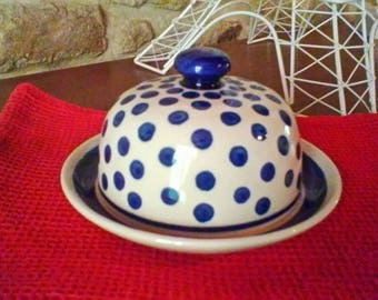 Beautiful blue and white Boleslawiec Butter Dish - Polish vintage collectors lidded dish
