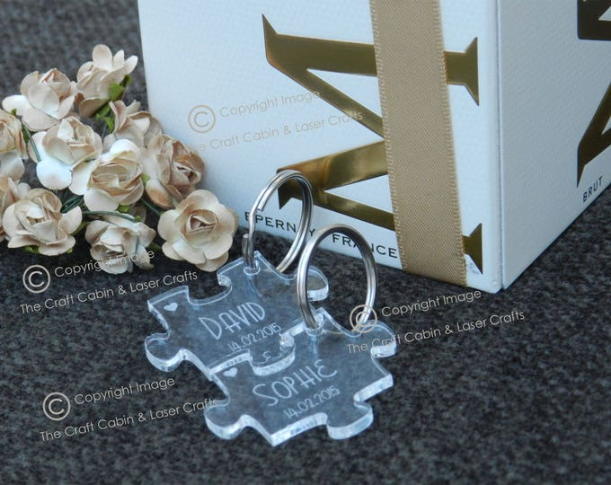Personalised Mr & Mrs Couples Clear Acrylic Puzzle Key Ring set. Valentines Day Gift. Wedding Gift Idea, Anniversary Gift