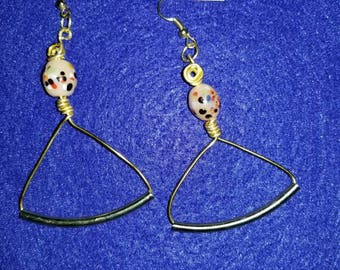 Gold Wire Dangle Drop Hanger Earrings with Multi Colored Bead