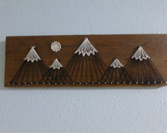 Wooden Mountain String Art Wall Decoration | Wall Art Mountains | Mountain String Art