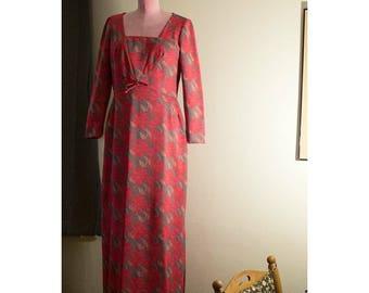 1960s Floral Long Sleeve Sheath Dress