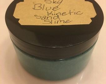 Sky blue kinetic sand slime