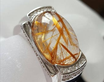 Golden Rutilated Quartz ring,Weight  8.7 g