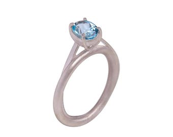 Handcrafted sterling silver 925 ring with Aquamarine stone