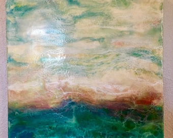 """Encaustic Art 16""""x16"""" Blue Green Textured Abstract Seascape Wax Painting on 1.5"""" wood panel"""