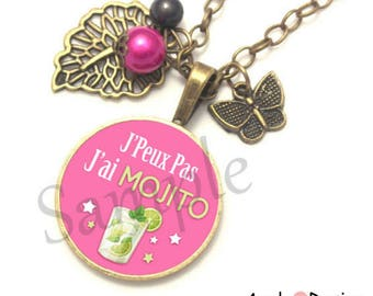 Leaf green stars pink Mojito cocktail tassel heart knot necklace