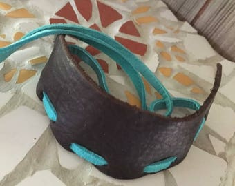 feather leather cuff