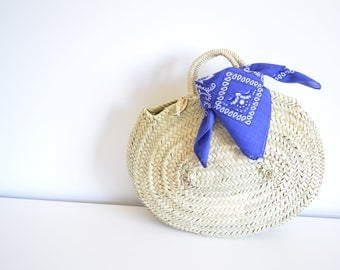 Maria Rita- Small Oval Straw Basket - Oval Basket- Round Straw bag-Handmade-Straw bag- Panier Rond-Round Basket bag-La Petite Sardine