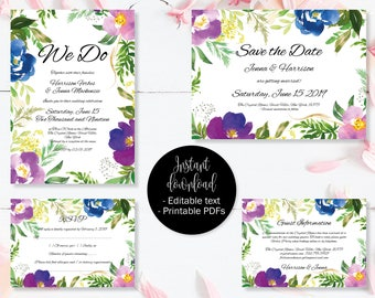 Wedding Invitation Template Set, Save the Date, Invite, RSVP, Guest Information, Editable Printable Wedding Templates, Border 5 SETA-5